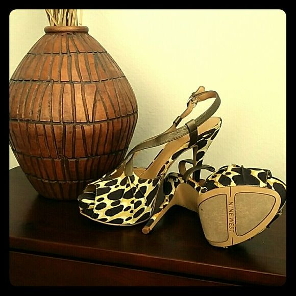 Shoes Peep toes, open back animal print high heels.  Comes in the original box. Nine West Shoes Heels
