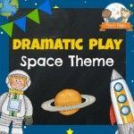 Space station theme dramatic play center for your preschool, pre-k, or kindergarten classroom. Printable props to help you easily transform your kitchen or home living dramatic play center into a space station by adding a few simple play props!