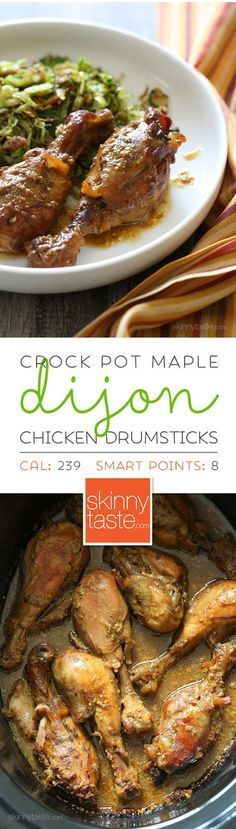 Crock Pot Maple Dijon Chicken Drumsticks recipe from @skinnytaste