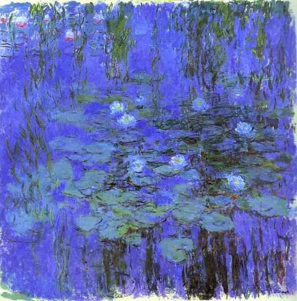 Nymphéas bleus, huile de Claude Monet (1840-1926, France)                                                                                                                                                                                 Plus