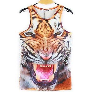 Mannen 3D Animal Print Strakke Sport Vest T-shirt – EUR € 14.43