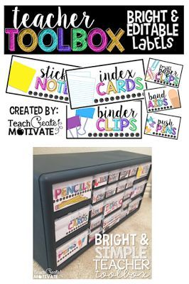 *EDITABLE* Bright Teacher Toolbox Labels! + a tutorial