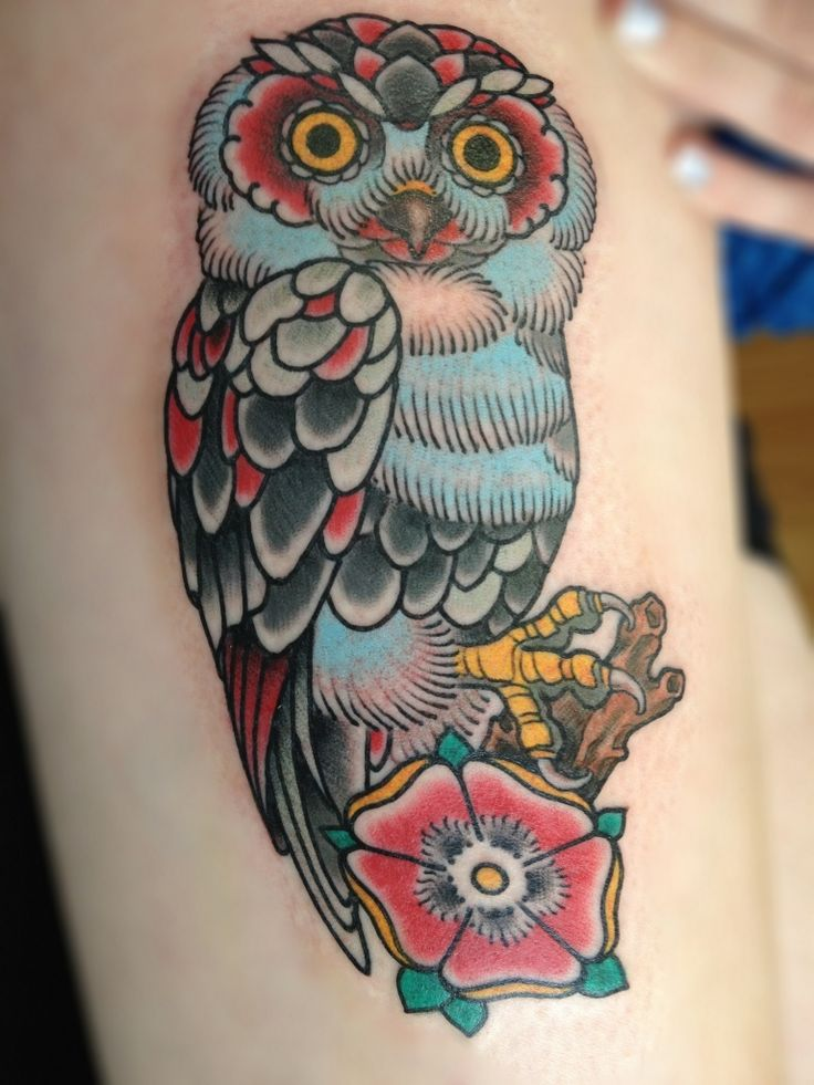 owl-and-flower-traditional-tattoos