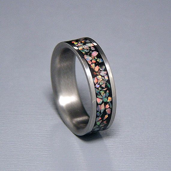 Fire and Snow Lab Opal Inlay Titanium Wedding Band by HolzRingShop