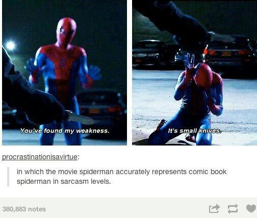 That's the thing I like about Andrew Garfield as the new spiderman.