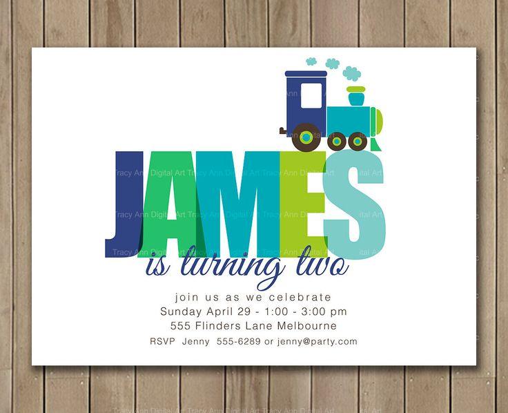 Train Birthday Invitation, Boy Invitation, Train Custom Name Invitation, DIY, Printable, 1061 by TracyAnnPrintables on Etsy https://www.etsy.com/listing/114663762/train-birthday-invitation-boy-invitation