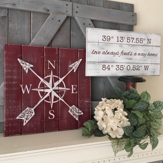 FAMILY SIGN SET of 2 compass and gps sign set by ElevenOwlsStudio