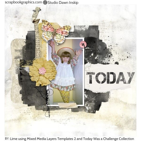 Credits: Mixed Media layers Templates 2 by Dawn Inskip and Today Was a Challenge collection by Dawn Inskip.