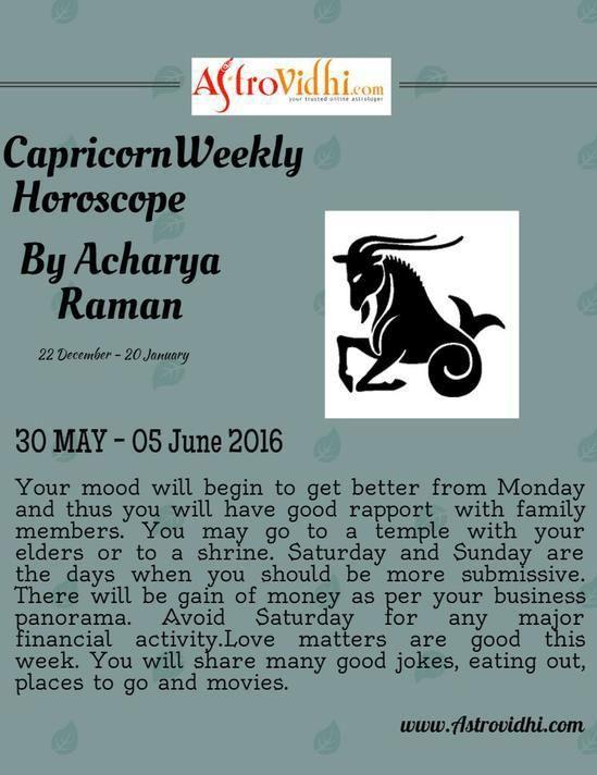 Check your Capricorn Weekly Horoscope (30/05/2016 - 05/06/2016).  #capricorn #weekly_horoscope