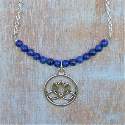 Lapis Lazuli Lotus Necklace.