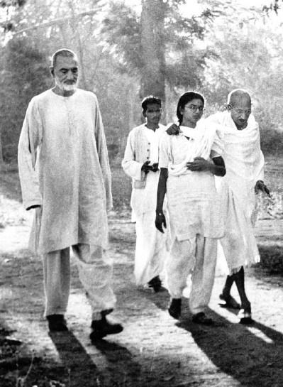 Gandhiji on a walk with Khan Abdul Ghaffar Khan