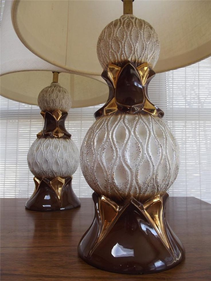 PAIR Vintage MID CENTURY MODERN Ceramic Table Lamp Light We Are Pleased To  Offer You This PAIR Of Very Unique And Cool RETRO Ceramic Table Lamps.