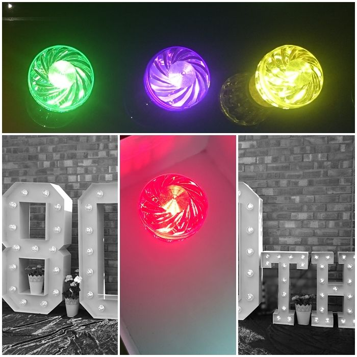 80th Large Light Up Letters for Birthday Celebrations.
