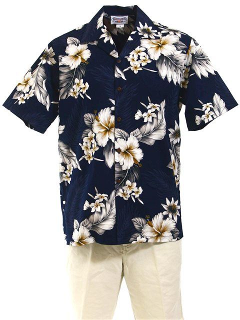 PL 410-3162 Cotton Hawaiian Shirt [Navy] - Men's Hawaiian Shirts - Hawaiian Shirts | AlohaOutlet SelectShop