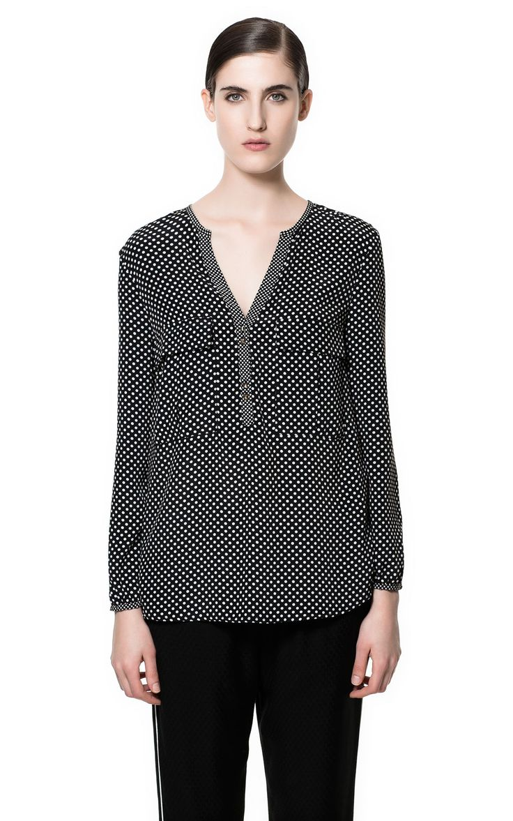 Image 1 of POLKA DOT PRINTED BLOUSE from Zara