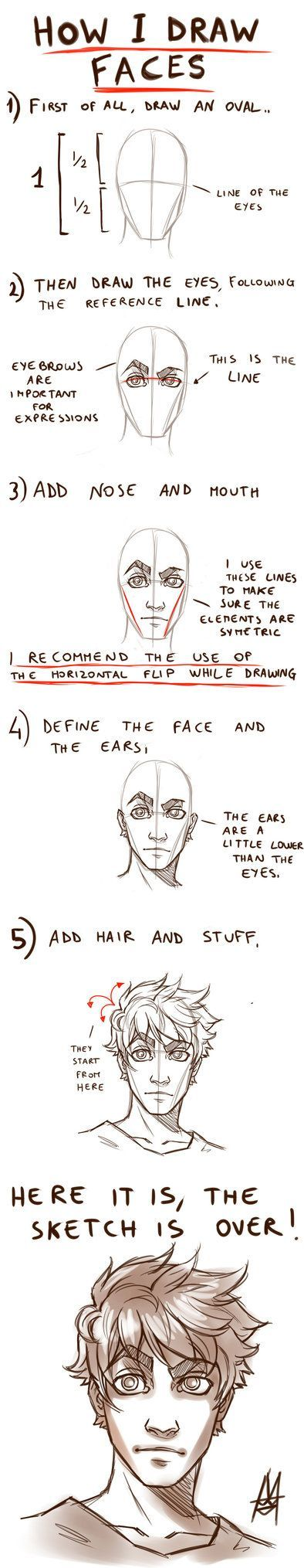 Tutorial HOW TO DRAW A FACE by MauroIllustrator on deviantART: