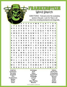 Frankenstein word search puzzle worksheet - great activity while doing a unit on Mary Shelley's novel.