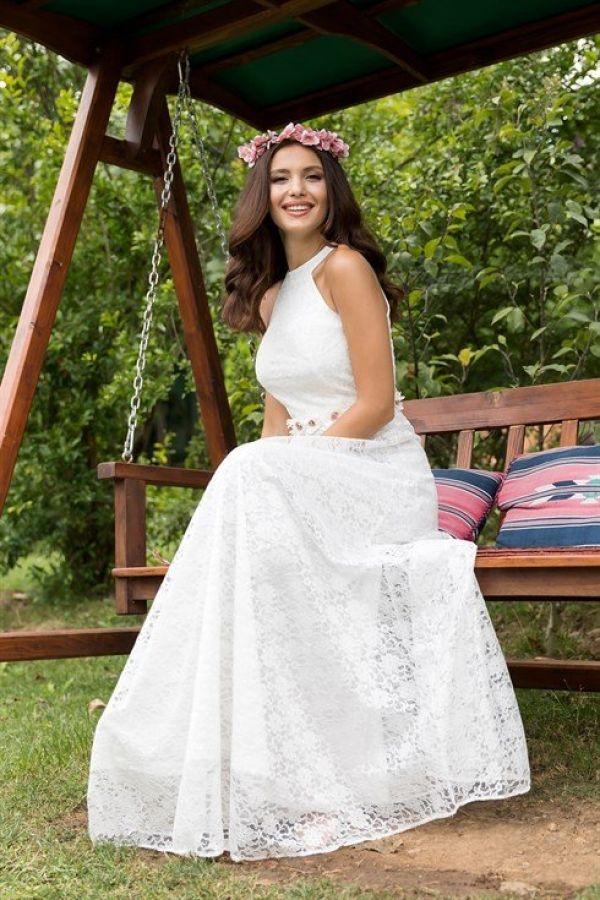 54d0b4f410f15 Beyaz dantelli abiye D2-3877-11 - Kapıda Ödemeli Ucuz Bayan Giyim Online  Alışveriş