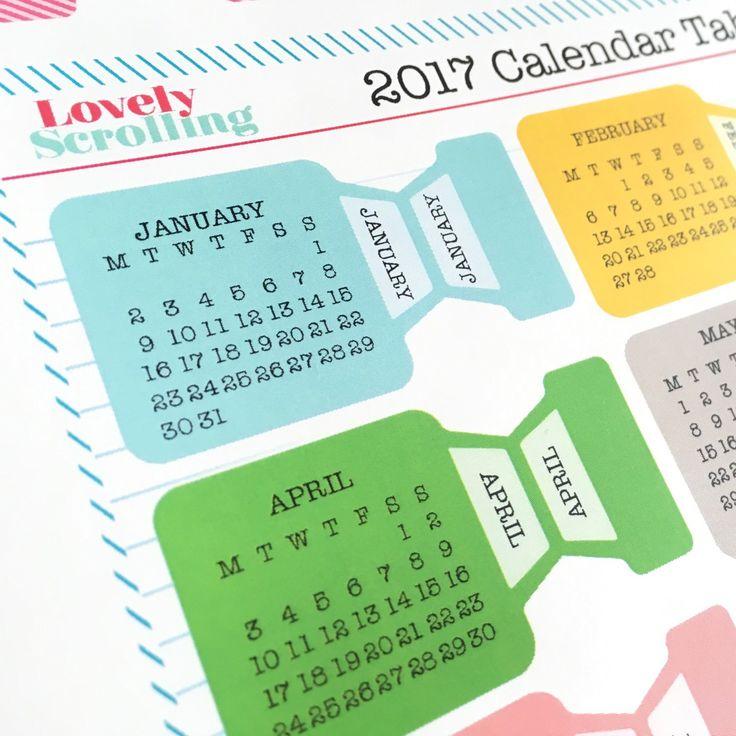 Pestañas adhesivas para agendas o cajas, con calendario incorporado