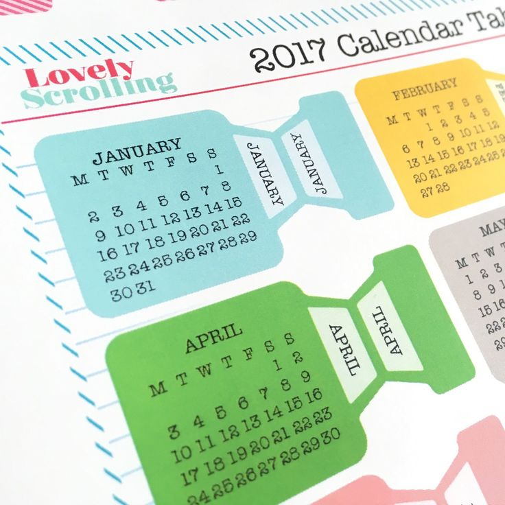 2017 calendar tabs now available!