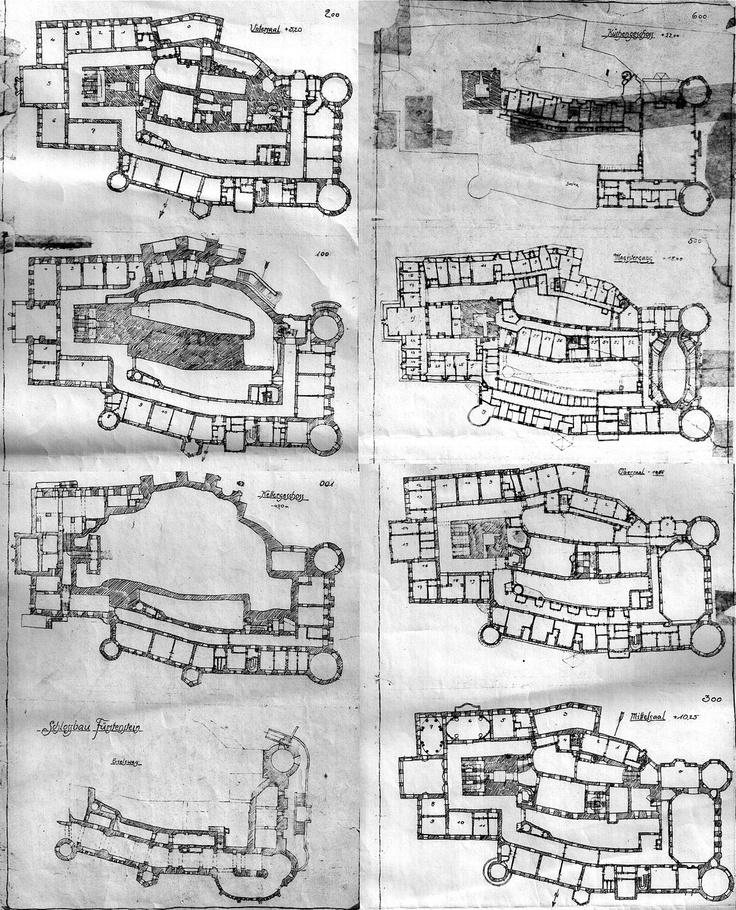 Schloss Fürstenstein - grundrisse (German);  étages (French);  floors/levels (English).