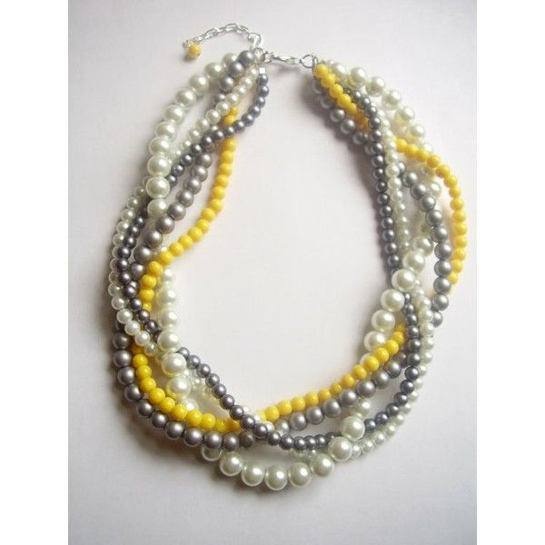 Grey and Yellow Wedding / The Noelle Necklace Pearl white gray silver yellow by tyrowild found on Polyvore