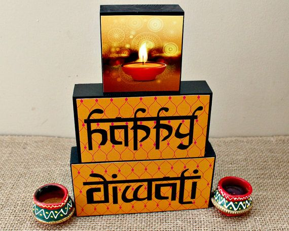 Happy Diwali Decor  Festival of Lights Wood by TimelessNotion