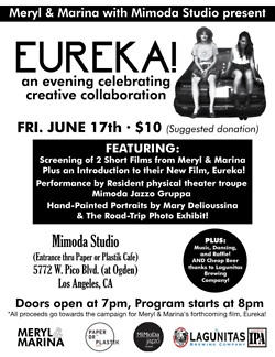Join us for a celebration of the arts tomorrow night at Mimoda Studio, featuring Brooklyn-based filmmakers Meryl & Marina debuting their recent 2 short films for the first time on the West Coast! Followed by an introduction to their upcoming project, Eureka! and performances by physical theater companies Mimoda Jazzo Gruppa and Fugitive. Stick around to get your portrait drawn by Mary Delioussina, buy a raffle ticket to win excellent seats to a Dodgers game, and enjoy cheap beer courtesy of