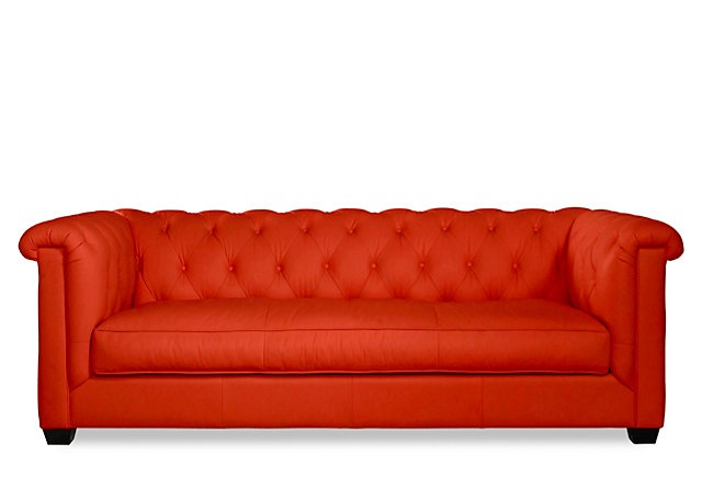 One Kings Lane - The Chesterfield - Louis Sofa, Poppy