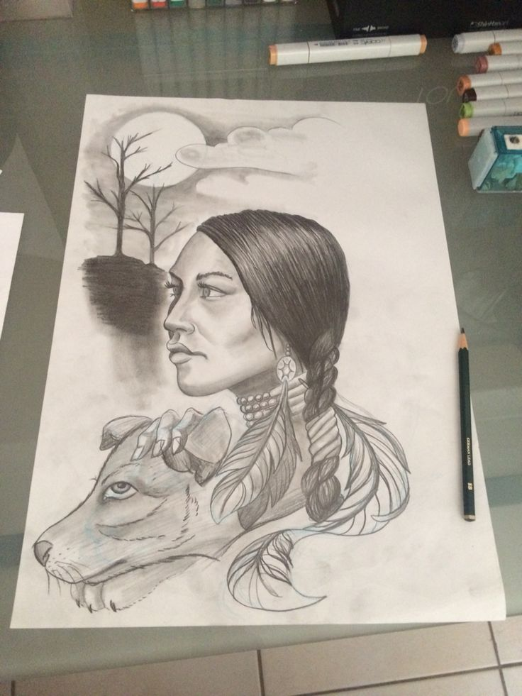 American Indian girl with wolf cub for tattoo design.