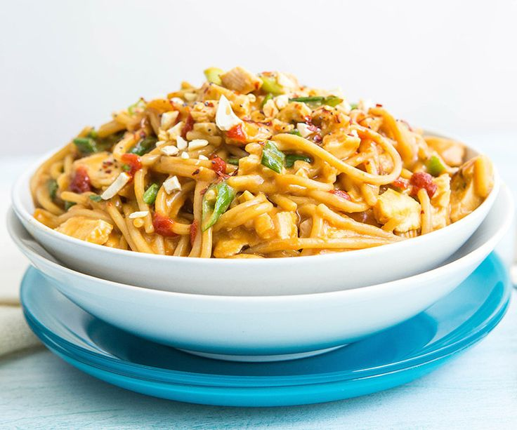 One-Pot Asian Noodles - spaghetti noodles, green onions, chicken, peanuts, soy sauce, peanut butter, rice vinegar, chicken broth, sriracha