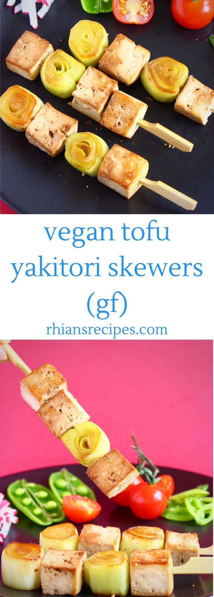 These Vegan Tofu Yakitori Skewers are super easy to make and just as delicious as the traditional chicken version! Gluten-free. Makes a great appetiser or main course.