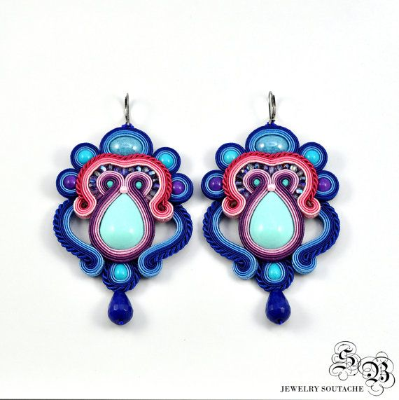 Colorful Soutache Earrings Very Large Long от SBjewelrySoutache
