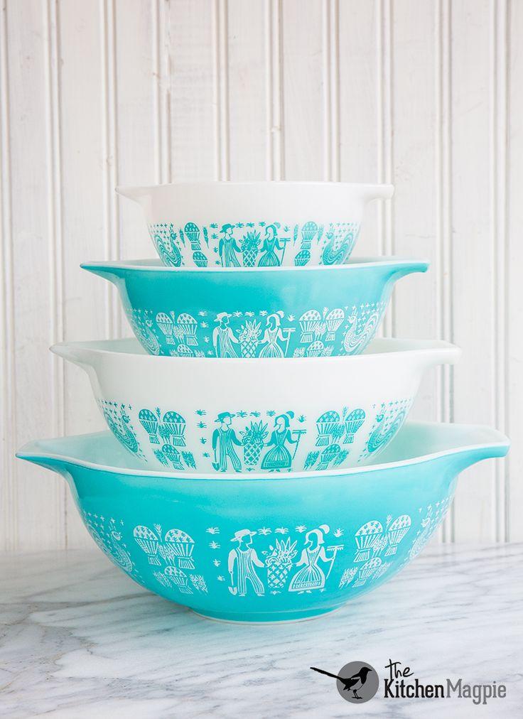 Vintage Pyrex Butterprint Cinderella Mixing Bowl Set Cosmopolitan Hot Plate That Matches The