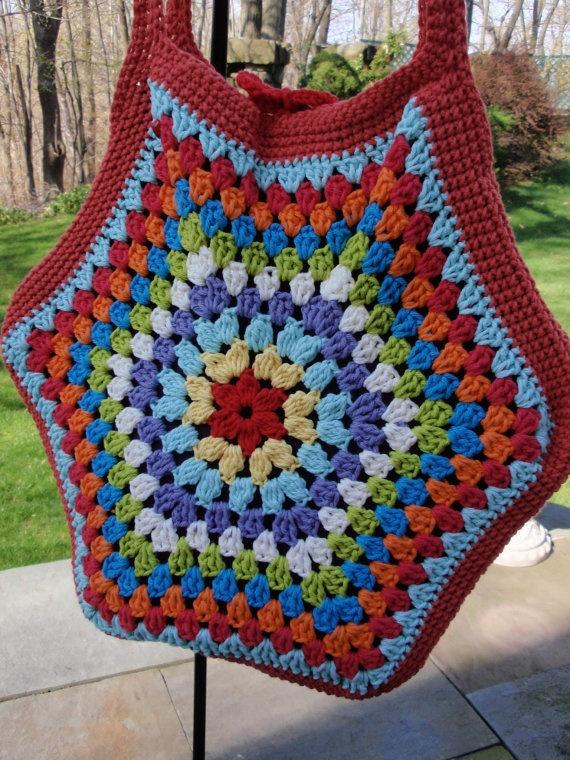 Crochet Granny Square Tote Cotton Multi by flowerbasketladybug, $53.00