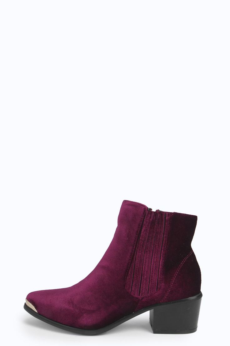 Amy Velvet Toe Cap Chelsea Boot