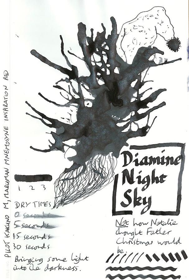 This is a test sheet for the Diamine Shimmertastic fountain pen ink in Night Sky. Click through for the full review.