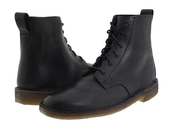 Men's Clarks Original Desert Mali Boot Black Leather 26110038 #Clarks #DesertBoots