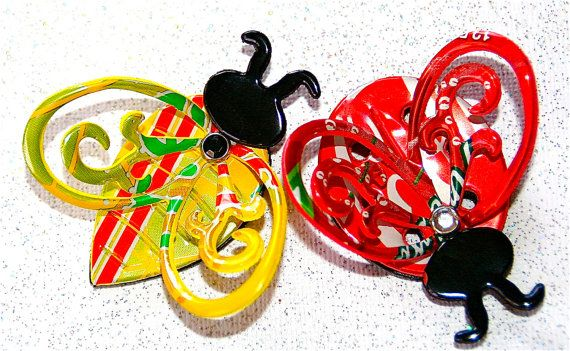 Recycled Soda Can Art SMALL 3D Lady Bug and Bumble Bee by apmemory, $7.45