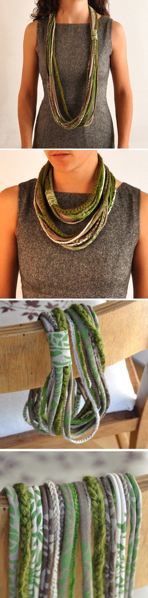 Green multi loop necklace- Combines crocheting and sewing *Inspiration*