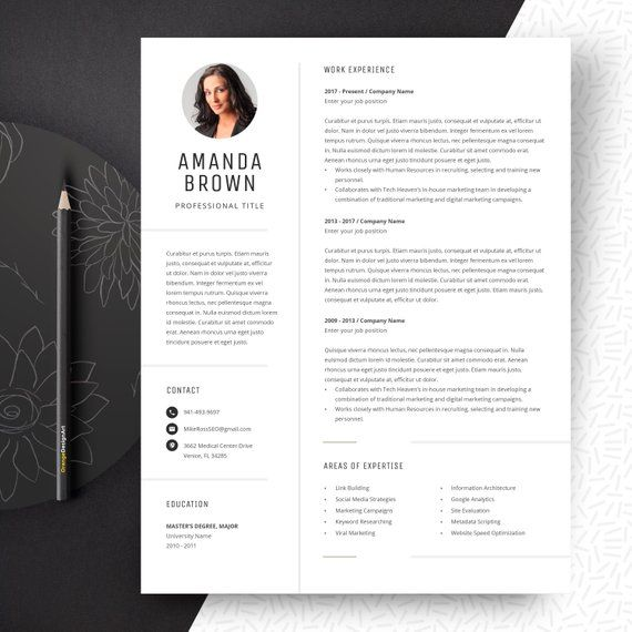 Minimalist Resume Template For Word Project Manager Cv Free Etsy Resume Template Minimalist Resume Template Cv Template