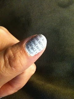 Newsprint finger nails