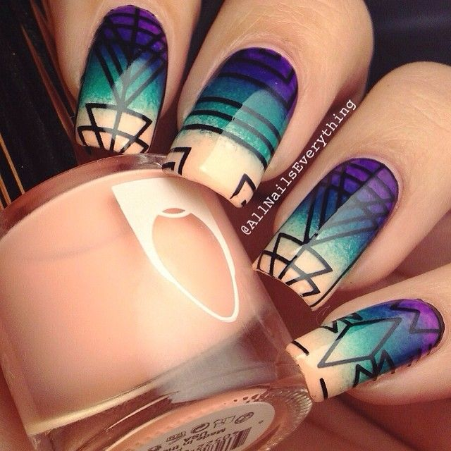Beautiful Geometric Nail Art with an ombre back ground - Best 25+ Tribal Nails Ideas On Pinterest Tribal Nail Designs
