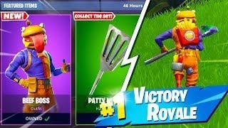 new durr burger skin gameplay new beef boss skin in fortnite battle royale - fortnite beef boss skin release date