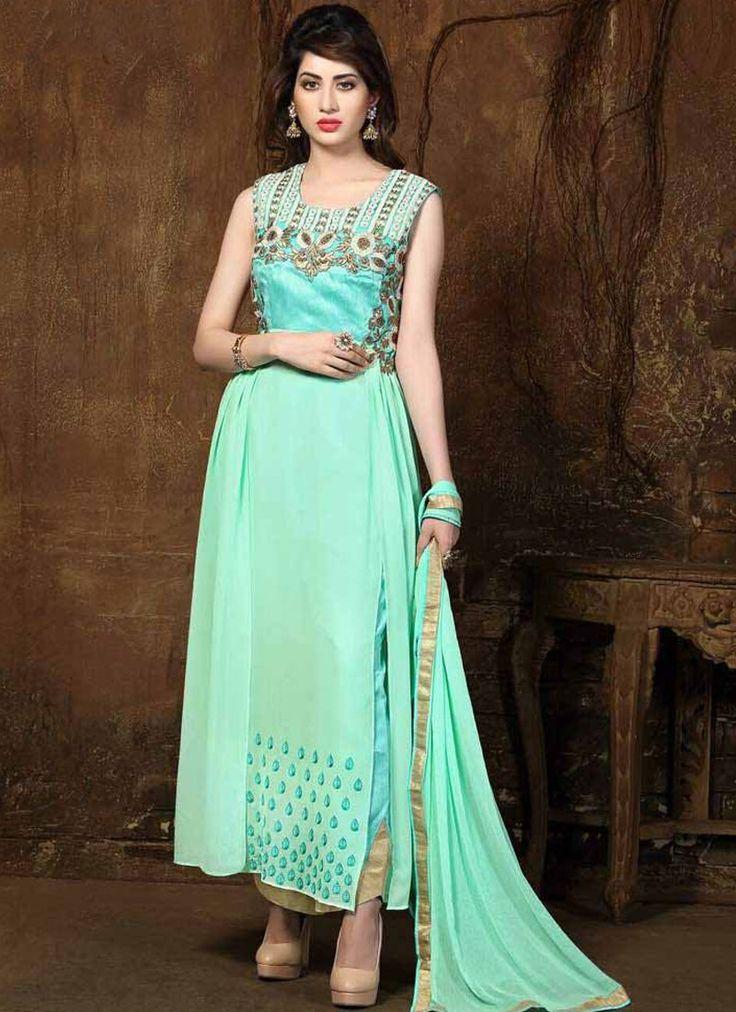 Enticing Green Georgette Designer Salwar Suit