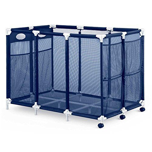 Modern Blue Pool Storage Bin - XX-Large | Perfect Contemporary Nylon Mesh Basket Organizer For Your Goggles, Beach Balls, Floats, Swim Toys & Accessories | Air Dry Items Quickly & Easily Roll The Mesh Storage Bins To Your Home Garage or Shed