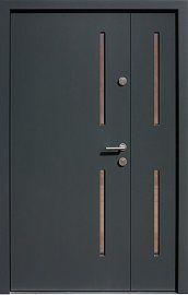Drzwi zewnętrzne dwuskrzydłowe nowoczesne wzór 948,12 w kolorze antracyt