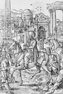 Süleyman I, detail of an engraving of a panel by Pieter Coecke van Aelst showing…