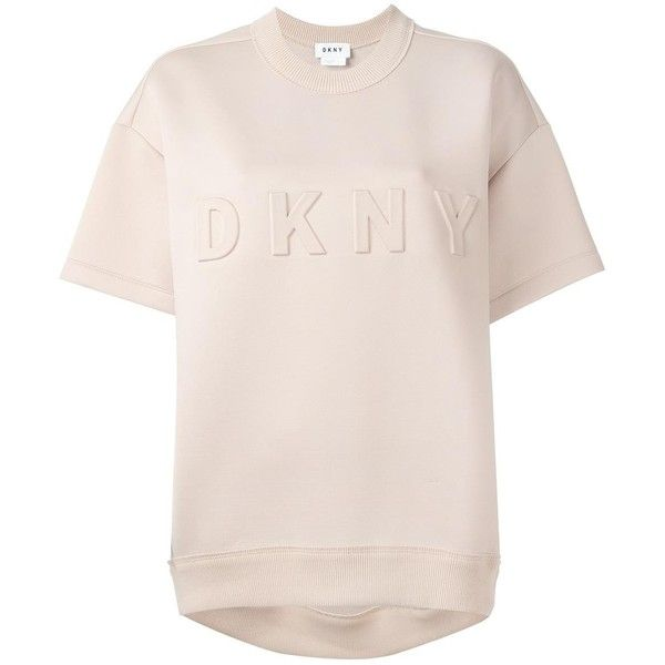 DKNY embossed logo neoprene T-shirt ($317) ❤ liked on Polyvore featuring tops, t-shirts, neoprene top, boxy t shirt, neoprene t shirt, ribbed t shirt and short sleeve tee