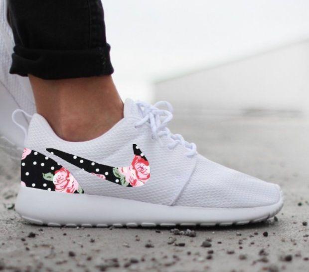 Nike Roshe Run Womens One White Custom Black White Dot Pink Rose Floral  Print | Styling tips | Pinterest | Nike roshe, Roshe and Pink roses